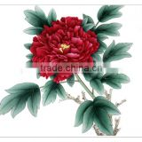 Wall Hanging vivid peony flower handmade painting on special silk material