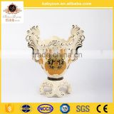 Chinese decorative antique ceramic gold vase with flower