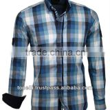 Elegant Pure Cotton Long Sleve Slim Fit Casual Checked Shirts for Men - Free DHL Express Shipping