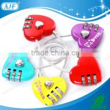 AJF disney supplier- red 3 dial digital metal cable love heart shaped luggage password lock