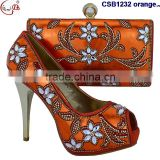 CSB1232 Fashionable new design high heel shoes matching bags.italian shoes nad bags for ladies