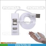 Hottest Mini USB COMBO 3ports USB 2.0 hub driver &TF card reader with 80CM cable for desktop