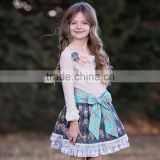 Hign quality western girls fall winter ribbon bow floral print baby girls party dress