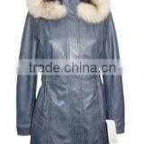 Ladies Baby Blue Knee Length Detachable Fur Hooded Soft Nappa Leather jacket