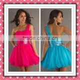 Beauty Sexy One-shoulder Pink Blue Mini Sweetheart Beaded Pink Party Dress Cocktail Dress HD-002