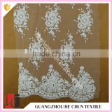 HC-5918-1 Hechun Sewing Crystal Bead Flower New Design Bridal Lace Fabric for Wedding Dress