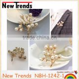 Elegant gold plant tree imitate pearl brooch party jewelry