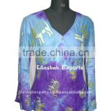 Rayon Tie Dye Batik Printed Blouse clothing ladies cotton tops designs Smoke Dresses Hindu Ropa Vetement DS2004
