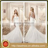 VDN26 Beautiful Hand Made Appliqued Bridal Gown 2016 Mermaid Keyhole Back Lace Wedding Dresses High Neck