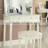 Modern luxury fashinal wooden dresser / white Top selling high-end French dressing table with drawers