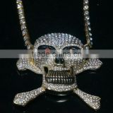 Hip-Hop Stylish Big Alloy Skull Pendant Necklace Colorful Heavy Long Rhinestone Chain Necklace