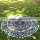 "Green 72"" Indian Tapestry Round Mandala Tapestry Roundie Round Table Cover Wholesaler Indian Tapestry Art"