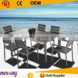 2016 Outdoor Brushed Aluminum UV Plastic Wood 6 Person Dining Table and Chairs Garden Set                                                                         Quality Choice