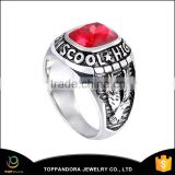 316L Stainless steel casting black silver big ruby stone men rings diamond jewelry ring for men