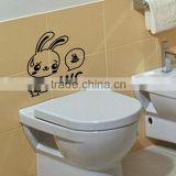 DIY Toilet Sticker Cute Rabbit Cartoon Wall Stickers Removable 1Pcs Plane Wall Sticker Finish Free Shipping 116