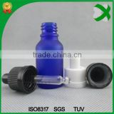 trade assurance 20 ml frosted blue glass dropper bottle e cig liquid glass bottle with rubber dropper