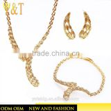 Jingli jewelry copper Arabic Wedding Colorful Crystal Gold Jewelry set , Bridal Necklace Set(AT-005)