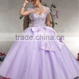 Free shipping 2013 new arrival short sleeve embroidery beaded light purple puffy ball gowns with bolero CWFab5305