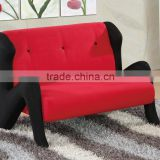 2015 New design beauty sofa, red microfiber and black mesh fabric