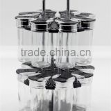 wholesaler spice jar set empty jar pet clear bulk spice jar double-deck wit metal stand 16S005