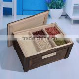 roast color wood Kitchen Mixed Grain Rice storage bin