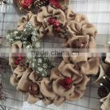 "22"" burlap Jute fabric christmas wreath with bell"
