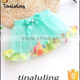 top fashion children skirts in chiffon new baby ballet tutu with flower petals 2015 baby clothes