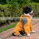 Waterproof cute large dog raincoat with safety reflective tape