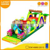 2015 AOQI latest design Jurassic long inflatable kids obstacle course for sale
