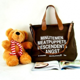 many words printed shoulder tote bag with long messenger