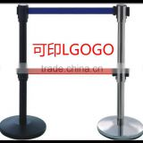 Manufacturer-Black Bank-Hotel Belt Barrier-Retractable Stainless-Steel -Stanchion-Double blet stand Pole