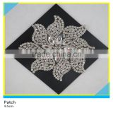 Heat Transfer Crystal Rhinestone Decals Hotfix Rhinestone Chain Flower Applique 9.5x9.5cm