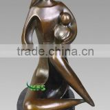 Bronze abstract mother and baby sculpture