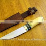 Hunter knife with Bone handle / Brown real leather sheath