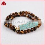Women's Double Row Tiger Eye Bead & Howlite turquoise bar fashion rosary bracelet 2016