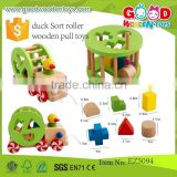 new product duck Sort roller wooden pull toys OEM wooden funny car toys with good quality EZ5094