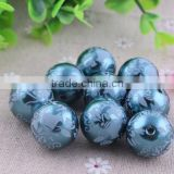 2014 high Quality 20mm chunky Round Acrylic Pearl Beads, Floral Print fake Pearl Beads wholesale!!