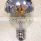 G80/G95/G125 led Filament bulb globe light half chrome/mirror glass 6 watt 8w dimmer E27/E26/B22