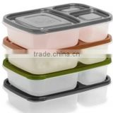 BPA free Microwave Safe Plastic Lunch Box with Cover 3 compartments Plastic Bento Box for Business Lunch