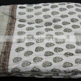 Handmade Vintage Queen Kantha Bed Cover Custom Design, Drop Shipping, Blanket Reversible Cotton Filled Quilt