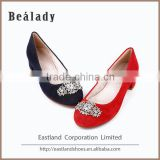 Wholesale made in china classic low thick heel sheep suede leather ballroom lady dance shoes