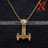 Hot Stunning Men's Viking Thor's Hammer Mjolnir Skull Head 316L Stainless Steel Gold Pendant                                                                         Quality Choice