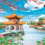 natural scenery handmade painting offset printing wallpaper