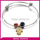 latest design hamsa stainless steel expandable wire bangle bracelet