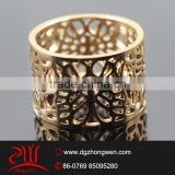18k gold plated butterfly pattern stainless steel wedding ring