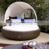 All weather patio living rattan round sun lounger furniture