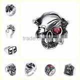 Wholesale factory price gothic style 316l stainless steel ring fashion men crystal eye skull ring