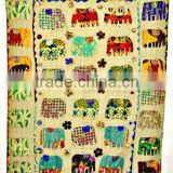 Elephant Patchwork Handmade kantha Quilt Throw Kid's Bed cover bedspread Tapestry