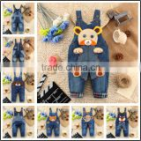 New pattern fashion printed kids jeans denim overalls