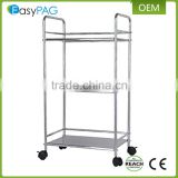 Wholesale 3 tiers chrome metal wire kitchen trolley pantry rack and utility kitchen cart